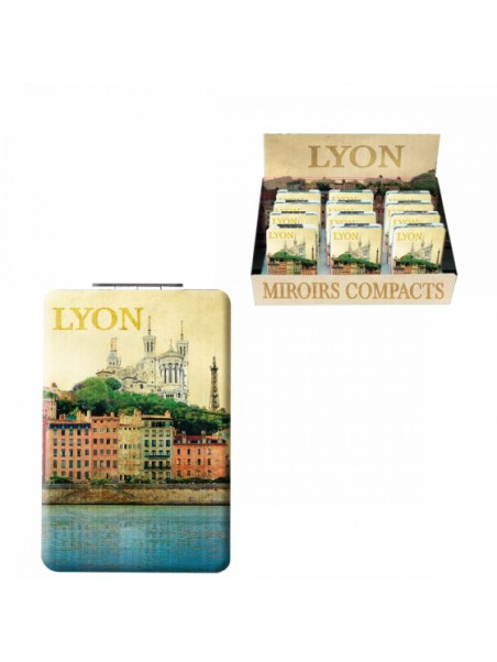 Miroir de poche Lyon vintage chez Souvenirsdelyon.com
