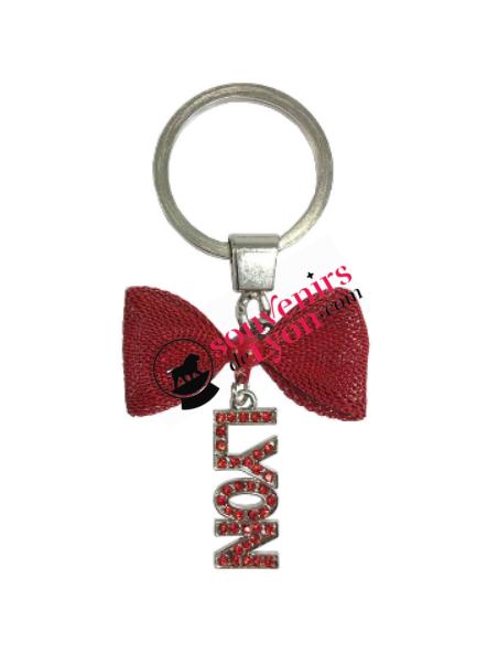 Porte-clés Lyon noeud rouge chez Souvenirsdelyon.com